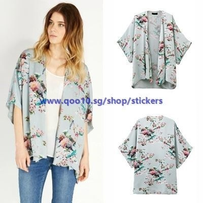 Vintage Women Kimono Floral Bird Print Open Front Loose Jacket Blouse Cape Light Blue