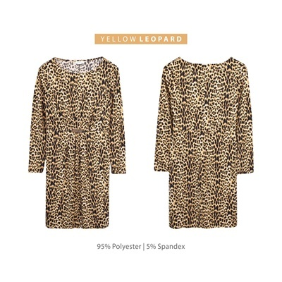 DRESS L/S JACKLYN_YELLOW LEOPARD