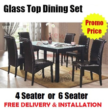 Glass Top Wooden Leg Dining Set | 1 Table + 4 Chairs OR 1 Table + 6 Chairs | Furniture Warehouse