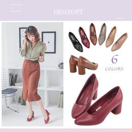 Gracegift-Classic Real Leather Elegant Heels/Women/Ladies/Girls Shoes/Taiwan