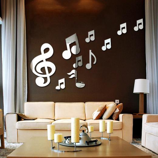 Qoo10 Creative 3d Musical Notes Acrylic Mirrors Wall Sticker Home Decor Livi Furniture Deco