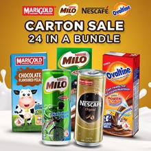 Marigold UHT chocolate Milk Nestle Milo Packet/Can + Nescafe Can Assorted + ovaltine long expire