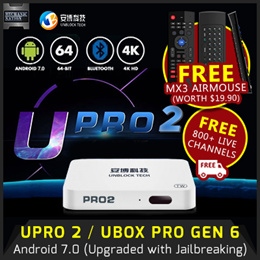 [FREE SHIPPING] UNBLOCK Tech TV BOX GEN 6 - UBox UPro 2 Bluetooth Version Android 7. Local Stocks (w Safety Mark Adapter) 12 Months Warranty! FREE MX3 Full Keyboard Air Mouse!