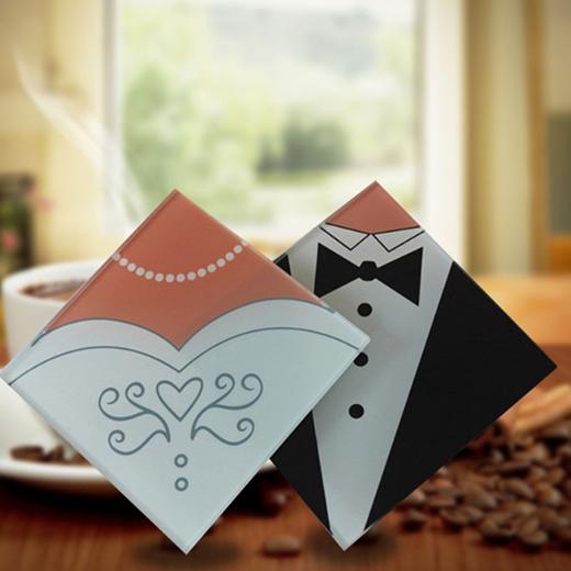Qoo10 2 Pcs Set Cute Wedding Gifts Bride And Groom Dress Glass