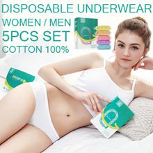 Buy 2 Free Shipping Disposable Underwear for Women and Men Cotton 100% Panties 5PCS Set Plus Size