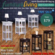 Furniture Living SG - New Telephone Stand/ Side-Table in Walnut/White colour for only $79