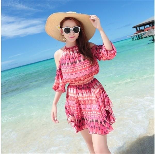 レディースワンピース ビーチワンピース 砂浜 プリント ファッション ハイセンス 着心地いい おしゃれ 夏 スリム レディースワンピース