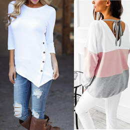 3012a1ae7c3a isassy SG Local Seller New Fashion Womens Ladies Mini Dress Long Sleeve  Loose Tops Blouse Shirt