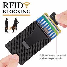2018 Men Minimalist Wallet Card Case RFID Blocking Carbon Fiber Wallet Stretched Credit Card Holder