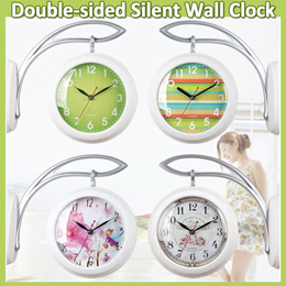[Time design]Double-sided Wall Clock/Hang-on-the-wall Silent Clock/Natural Vintage Modern/Living Roo