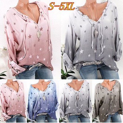0734a67f5af0b 2018 Women Fashion Sexy V-neck Long Sleeve Star Printed Shirts Loose Casual  Plus Size