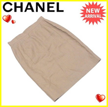Chanel CHANEL skirt BOUTIQUE Women's # 34 size boutique tight beige linen Linen / 100% beautiful lined interior [pre] T2932.