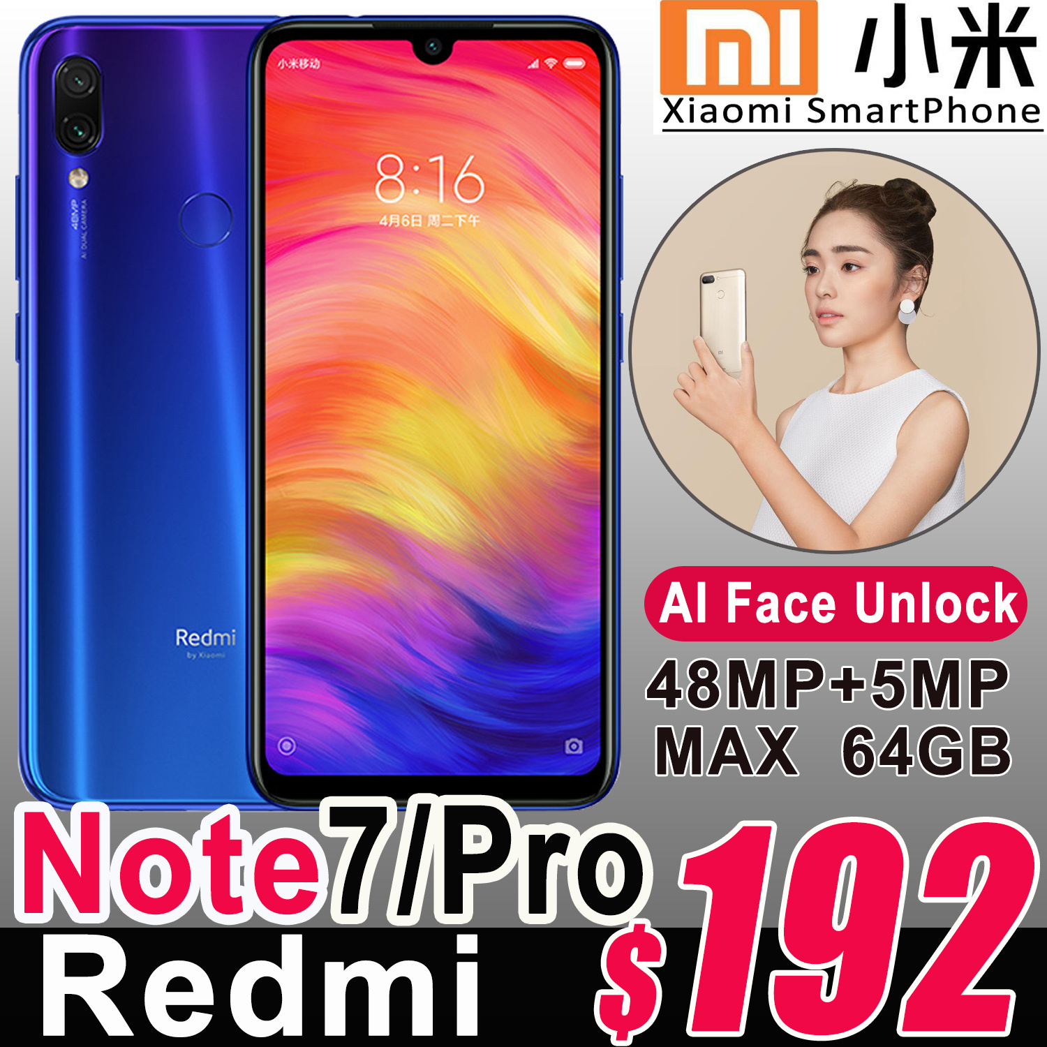 2019 Xiaomi Redmi Note 7/Pro 6 3inch GPS Smartphone Android OS Type-C Sony  Camera 4000mAh