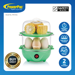 PowerPac 2 tier Food Steamer with Stainless steel flat heating plate (PPE703G)