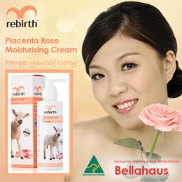 Rebirth Placenta Rose Moisturising Cream with Vitamin E (Body Lotion) 200ml Australian Made Halal
