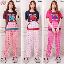 Stelan Baju Tidur Guem Atasan Piyama Hello Kitty Dan Celana Panjang Jumbo Wanita