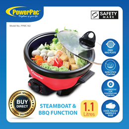 PowerPac 1.1L Multi Cooker Steamboat pot with Free BBQ Plate (PPMC182)