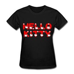Hello Kitty T Shirt For Womens O-Neck[ XL Black