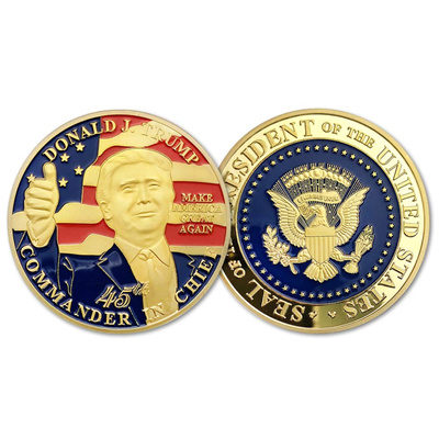 E-Coin Donald Trump 45th President Challenge Coin-United States Gold  Plated,A Collection Item Design