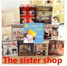 Toys Cartoon people can sit stool storage stool storage box folding stool changing his shoes sofa-x