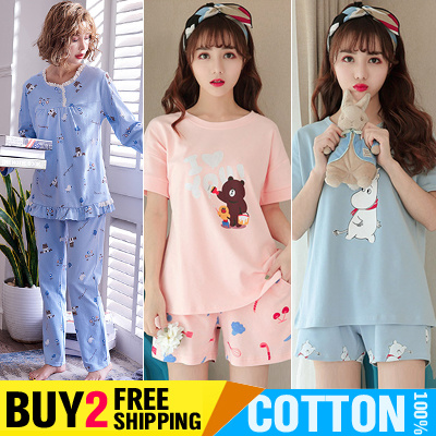 Buy 2 Free Shipping Womens Sleepwear Cotton 100% 2 Pieces Sets Girls Cute  Cartoon Pajamas 04f85feb3