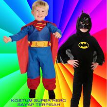 [ SUPER MURAH!!! ] BAJU ANAK KOSTUM SUPERMAN DAN BATMAN BERSAYAP