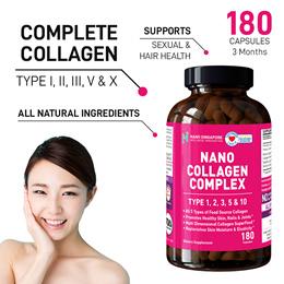 [180 caps 3 Mths] No.1 Nano Collagen Types 1 2 3 5 and 10 ♥ Protein + Vitamin ♥Better Skin Nail Hair