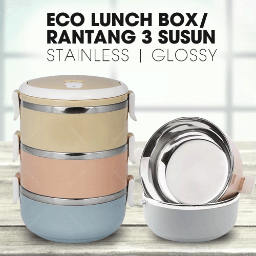 ECO LUNCH BOX STAINLESS STEEL RANTANG 3 SUSUN GLOSSY