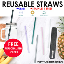 GLASS STRAWS♥ STAINLESS STEEL STRAWS Eco Friendly Reusable StrongSafe.Save the earth ! KFC No straws