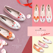 ELISA LITZ MANEKI-DOG FLATS - Animal Zoo | Fortune Kitty Dog | Genuine Leather | Ladies Shoes | CNY