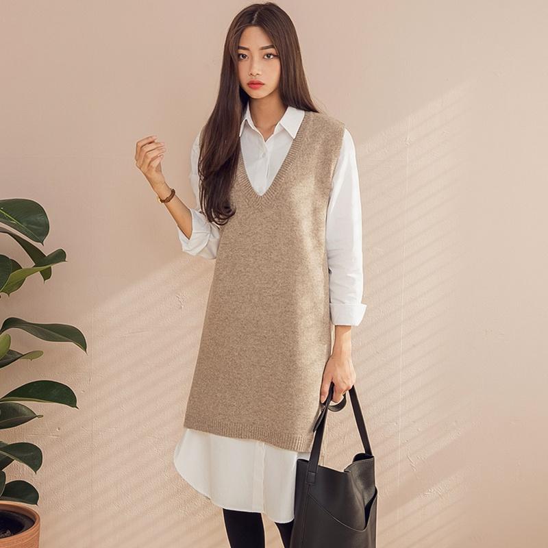 【送料無料】★韓國ファッション★lambs wool knit dress (lambswool70%)♥あなたと真珠のイヤリングを結婚