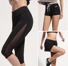 Women Short pants fake 2piece Zumba running sports gym 004 mid-length pants