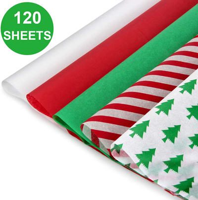 Green,Gold Silver and White Aneco 120 Sheets Christmas Tissue Paper 15 x 20 Inch Christmas Wrapping Paper for DIY and Craft Gift Bags Decorations Red