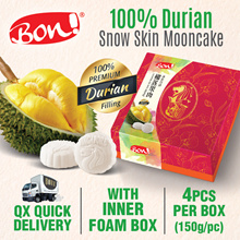 [BON!®] 100% D24 / Mao Shan Wang Durian Snow Skin Mooncake (4pcs) - EARLY-BIRD DEAL!