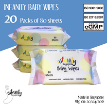 [Singtel]Infanity Baby Wipes 20 Pack x 80Sheets/ Made in Singapore / 99.9% Pure Water