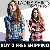 *Gift Wrapping*BUY 3 FREESHIPPING*Plaid Shirt❤Ladies Shirts❤Ladies Tops❤OL Shirts