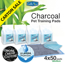 [200PCS] Cuddly Paws Charcoal Ultra-absorbent Pets Training Pads with Odour Control 60x45cm