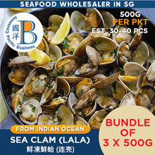 [3 X 500G ]FROZEN PREMIUM GRADE SEA CLAM MEAT (LALA) FROM THE BEST SEAFOOD WHOLESALER
