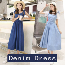 ★★iFashion★★Spring Quality Denim skirt Denim Dress 80% cotton One word shoulder S M L size