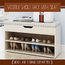 [ReadyStock] Wooden Shoes Rack With Seat | Bench and Storage Compartment
