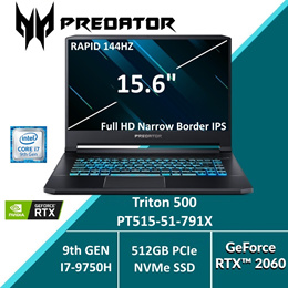 Predator Triton 500 PT515-51-791X with 9th Gen Intel i7 Processor and RTX 2060 Graphics card