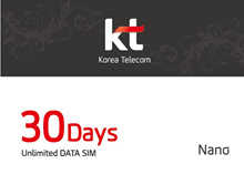 4G LTE Unlimited Data SIM card of in South Korea (30 days) authentic Korea telecom