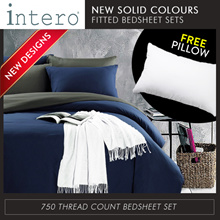 [FREE PILLOW] New Solid Colour bedsheet set with pillow cases and bolster case 750TC