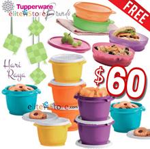 TUPPERWARE Airtight Deco Rainbow Topper 8in1 Set FREE 4pcs EZbowl Tapao Kitchen Storage Food Gift