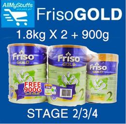 【FRISO】Gold Milk Powder (Stage 2|3|4) 1.8kg x 2 + 900g FOC