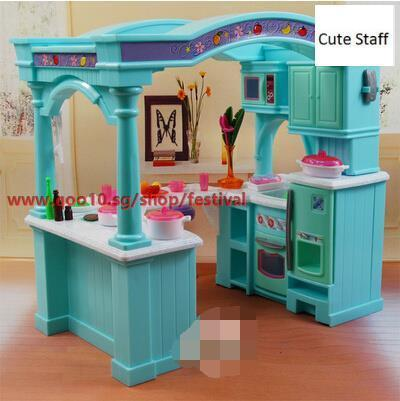 Qoo10 Barbie Kitchen Set With A Large Variety Of Food To