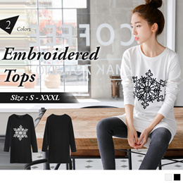 OB DESIGN ★ OBDESIGN ★ ORANGEBEAR ★ LONG SLEEVE EMBROIDERED GRAPHIC TOPS ★ 2 COLORS ★ S-XXXL SIZE ★