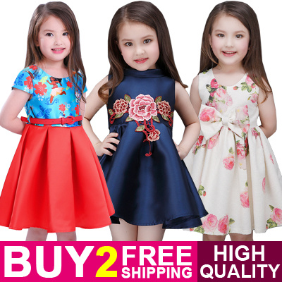 High Quality Buy 2 Free Shipping Kids Dress Cute Lace Lovely Fit Size Optional Elegant Casual Deals for only S$32.9 instead of S$0