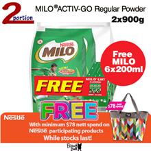 [FREE 6 PACKET] MILO ACTIV-GO Regular Powder Pack (2x900g + Free MILO 6x200ml)