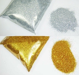 Gold Silver Fine Glitter Dust Powder for Nail Art. 50 Gram/Bag